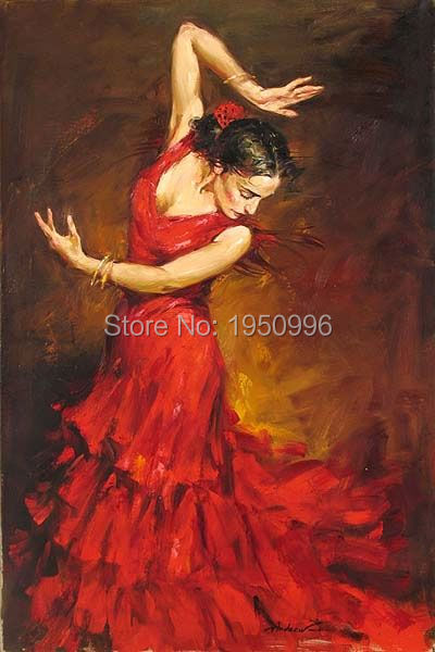 Dress Flamenco Dancer Oil Painting On Canvas Lady Large Abstract Portrait Canvas Wall Art For