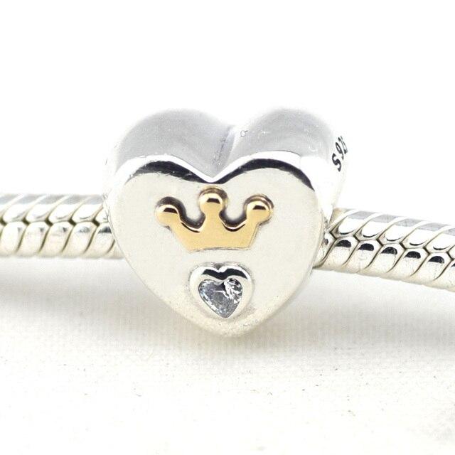 Fits Pandora Beads Bracelets Majestic Heart Charms with 14K Real