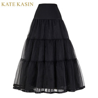 Long Petticoats Underskirt For Vintage Dress Retro Wedding Crinoline Petticoat Women 3 Hoops Black White Wedding