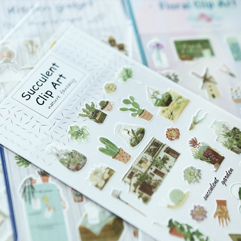 Plant Cactus Adhesive Paper Sticker Decorative DIY Scrapbooking Sticker Paste Kawaii Stationery