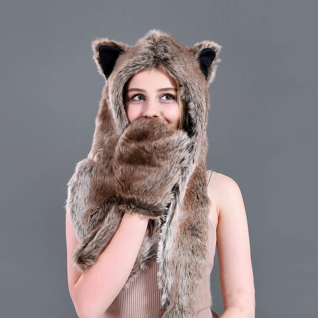 New fashion faux fur hat funny fur cap cartoon animal hat autumn and winter warm comfortable cute unisex novelty hat