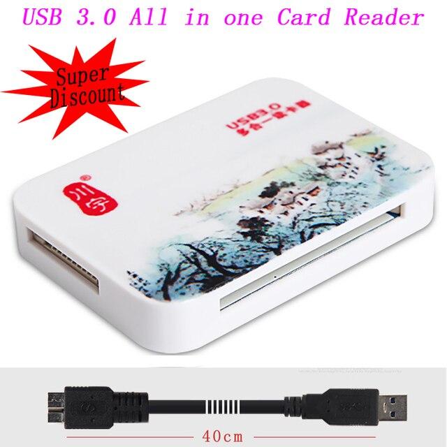 Tudo em um Super Velocidade 5 Gbps USB 3.0 SD SDHC SDXC Micro SD Adaptador de Leitor de Cartão TF MS CF TF Para PC Laptop de até 256 GB