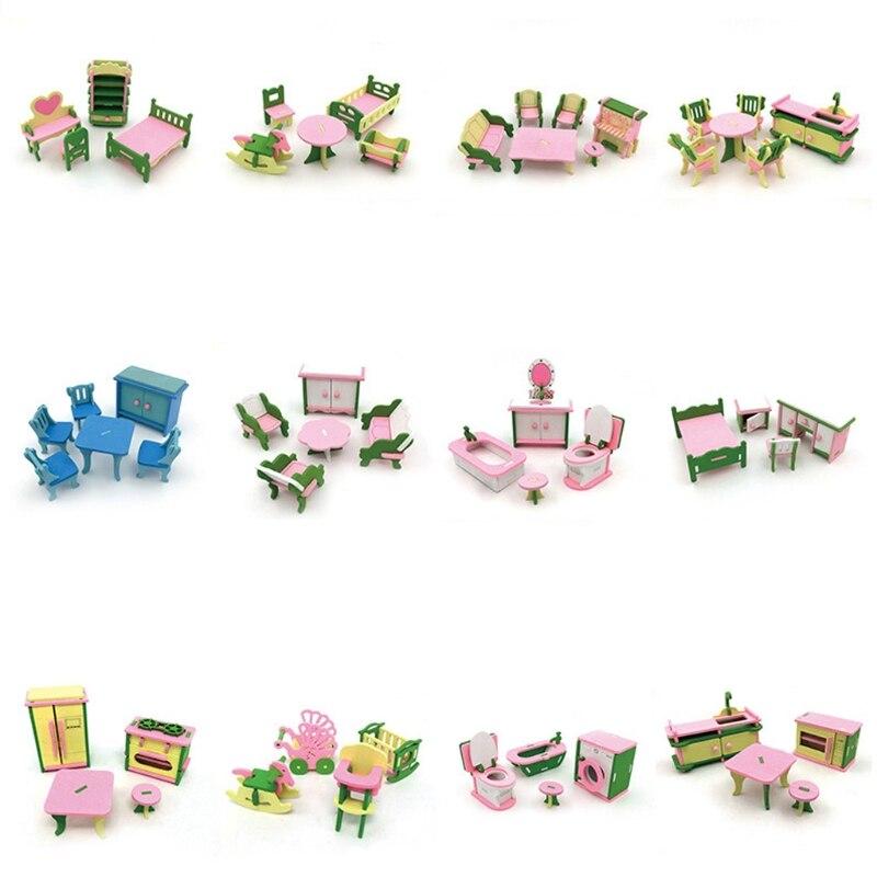 Criança de madeira fingir jogar móveis de brinquedo boneca acessórios móveis bonecas casa banho em miniatura cama sala estar crianças brinquedo presente