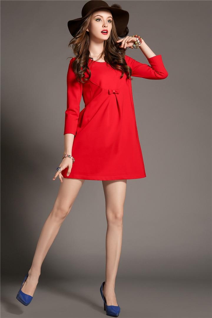 Women Winter Dress 2015 Plus Size Autumn Dress Red Black Party ...