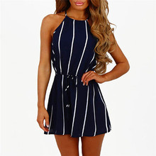 Women Stripe Printing Off Shoulder Sleeveless Rompers Jumpsuit Playsuit D2