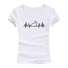 2017 Rabbit Heartbeat Lifeline Women T-shirt Harajuku Casual Funny T Shirt For Lady Girl Tops Tees Hipster