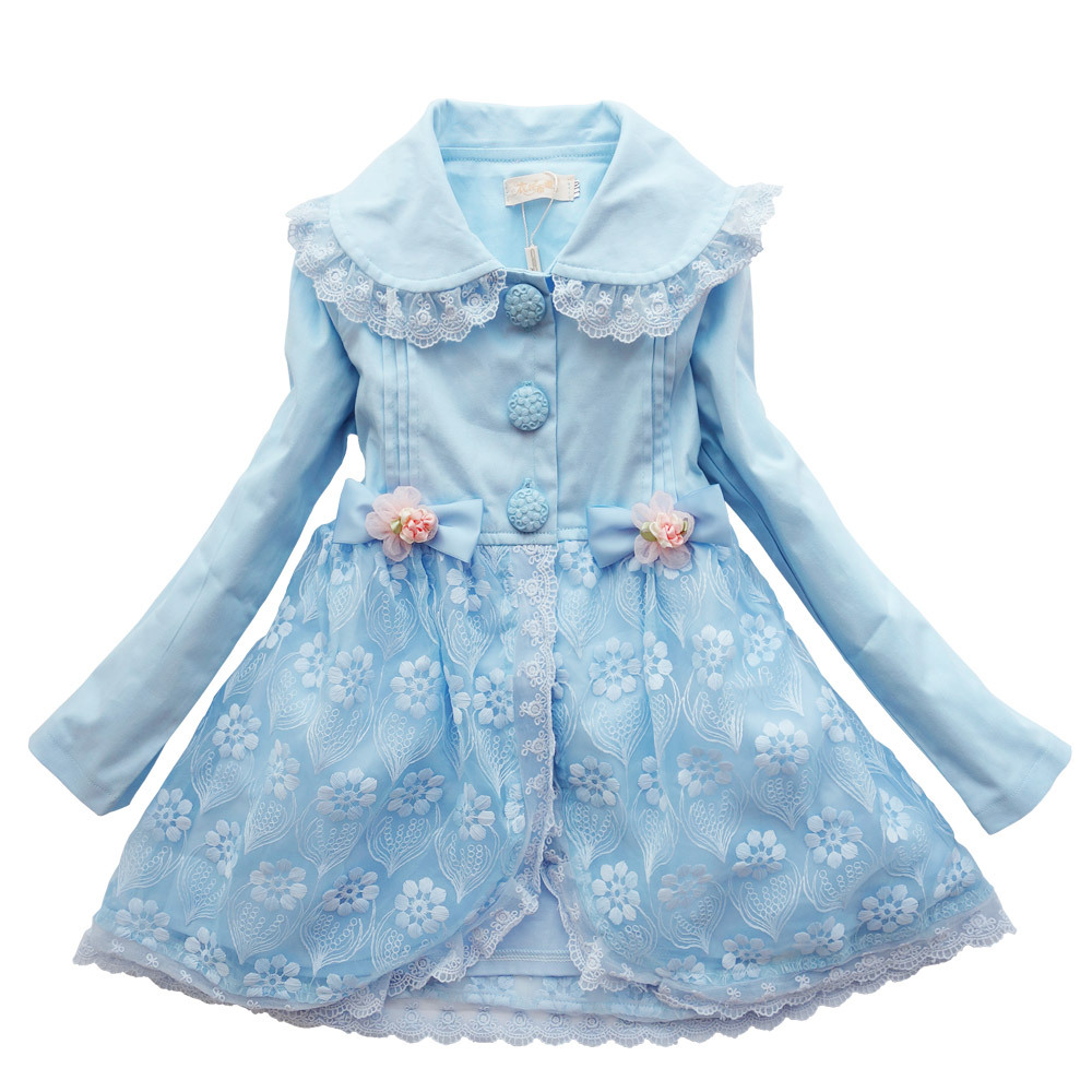Kseniya Kids 2018 Spring And Autumn Long-sleeved Girls New Children's Fashion Trench Coat top quality long sleeved fashion classic coat embroidery hooded suede long trench coat s xl free shipping lady winter over coat