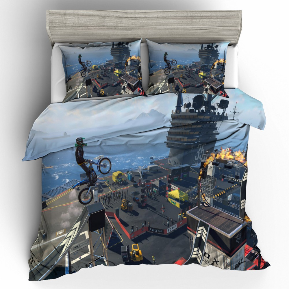 Dropshipping 3D Bedding Set Duvet Cover Pillowcase queen king Size 3D Bedding Set Motorcycle Boys Gift Trials Rising competitionDropshipping 3D Bedding Set Duvet Cover Pillowcase queen king Size 3D Bedding Set Motorcycle Boys Gift Trials Rising competition