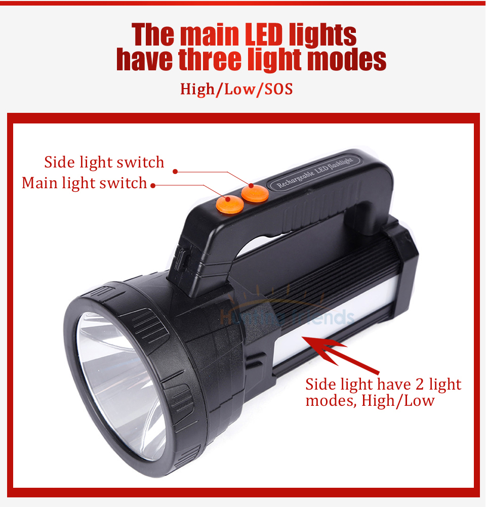HTB1EJp6aIvrK1Rjy0Feq6ATmVXaw - Super Bright Portable Light USB Flashlight 3 Modes LED Lanterna Searchlight Camping Light Built in 9000mA Rechargeable Batttery