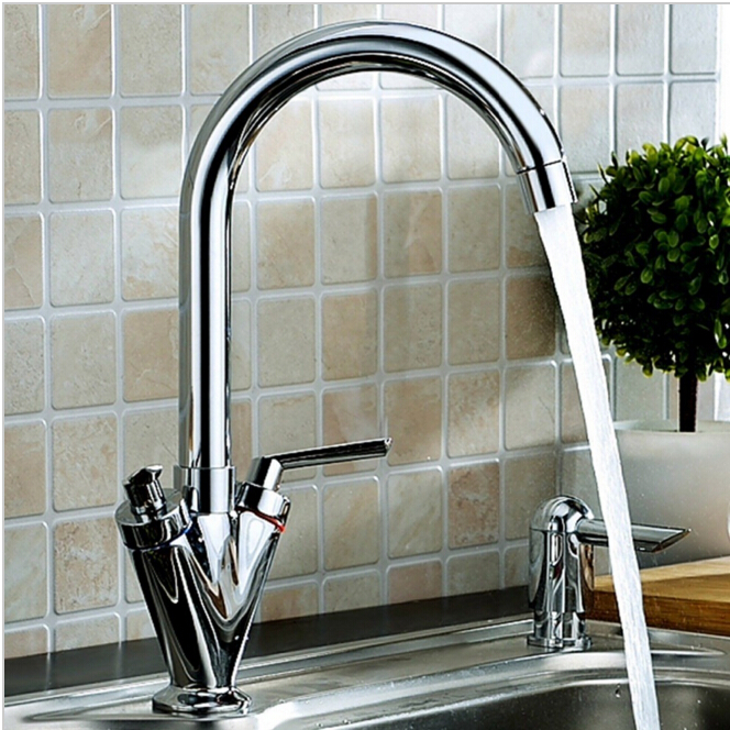 цена на wholesale and retail fashion High quality brass chrome finished hot and cold double lever kitchen sink faucet basin faucet tap