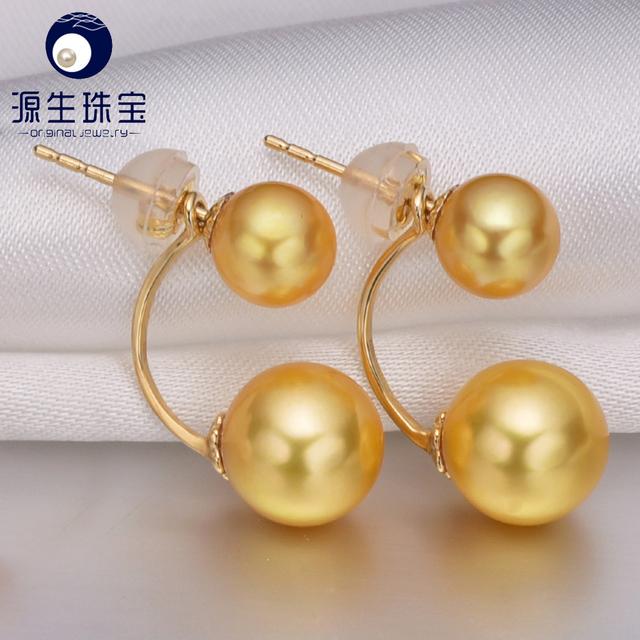 Pearl Jewelry Real Genuine Luxury White Akoya Double Pearls 18k Gold Earrings for Women Yuansheng