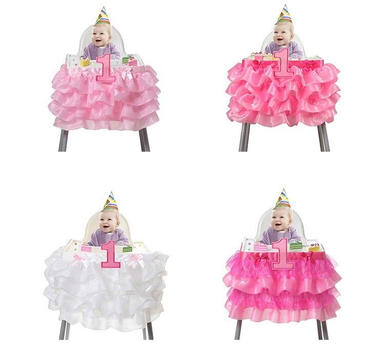 Baba zuhany kedvez az első születésnapi party dekorációs kellékek fehér rózsaszín tüll asztal szoknya testre szabott tüll Tutu asztali szoknya