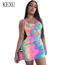 KEXU Fashion Tie Dyed Print Sexy Hollow Out Sleeveless Slim Dress Female Summer Elegant Vintage Mini Ladies Ropa Mujer