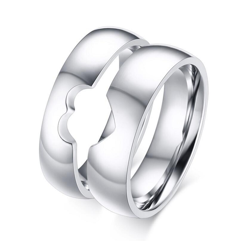 stainless steel silver heart puzzle wedding rings free engraved with messagechina mainland