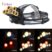 High Power 6 Mode 7* T6 LED+2*Red LED Headlight XML USB 18650 Battery Head Lamp Lanterns Fishing Light Torch