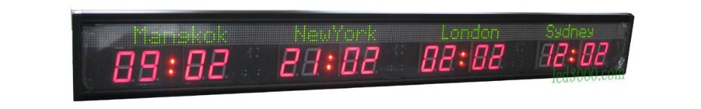 více časových pásem hodiny / LED světový čas hodiny 4 města světový čas hodiny