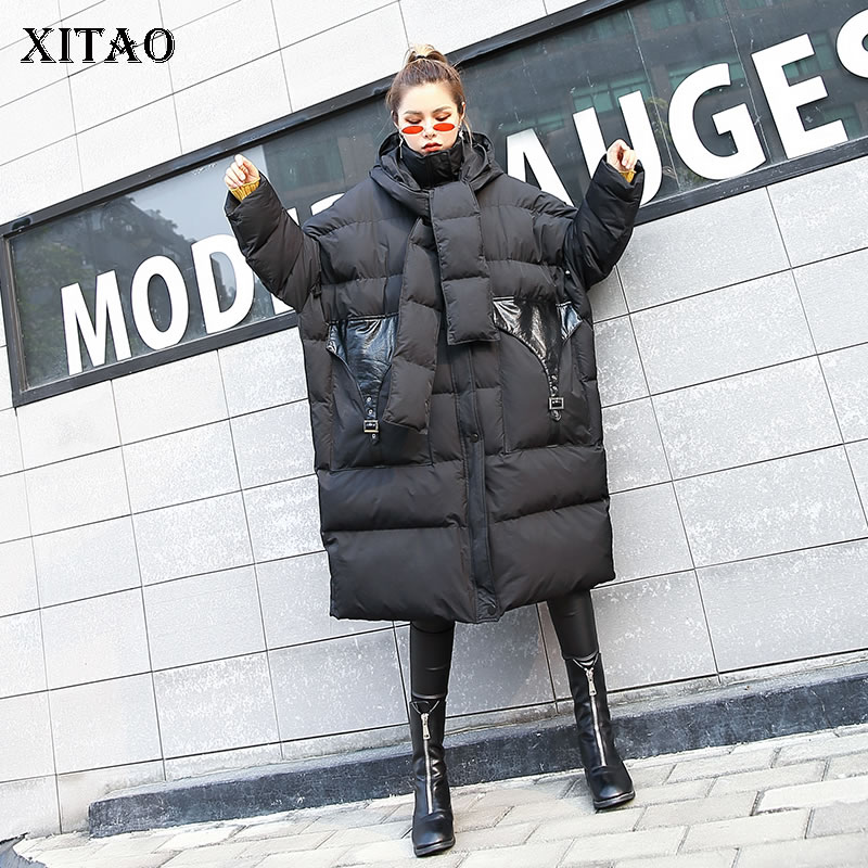 [XTAO] Korea Fashion New Arrival Women 2018 Autumn Turtleneck Full Sleeve Pocket Patchwork Casual Knitted   Parka   LJT4621