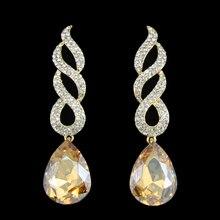6 Colores de Lujo Pendientes de Gota de Cristal de Oro Pendientes Grandes Pendientes Largos de Novia de La Boda para Las Mujeres de Joyería de Moda Bijoux ersg84