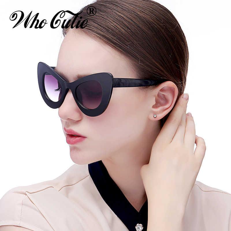 d0b216c86a6 WHO CUTIE 2018 Big Retro 60s Cat Eye Butterfly Sunglasses Women Oversized  Cateye Sexy Sun Glasses Vintage Shades Oculos OM308