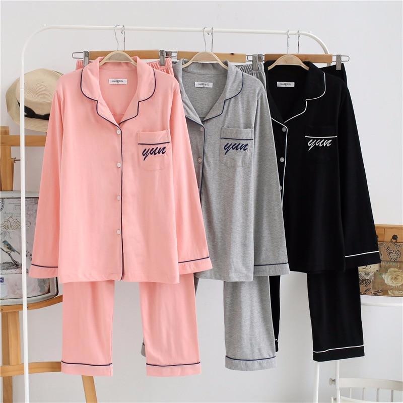 Men Women Knitted Cotton Pajama Sets Pijama Hombre Spring Sleepwear Long Pants Male Pyjamas Soft Cozy Lounge Wear 2018 New