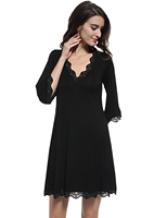 Sexy Nightdress Lace Patchwork Nightgown Sleep Dress Sexy Sleepwear Sexy Lingerie Robe Deep V Neck Lounge