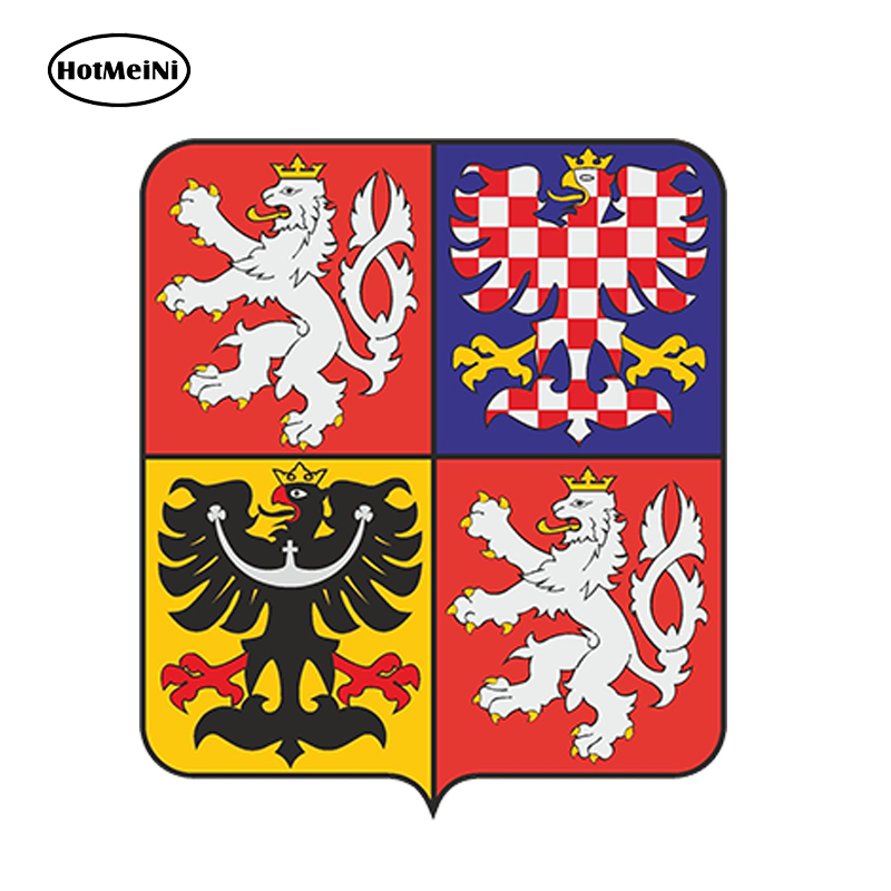 HotMeiNi 13x10.8cm Car Styling Car Sticker Coat Of Arms Of The Czech Republic Waterproof Doors And Windows Bumper  Accessories hot sale 1pc longhorn hilux 900mm graphic vinyl sticker for toyota hilux decals badges detailing sticker car styling accessories