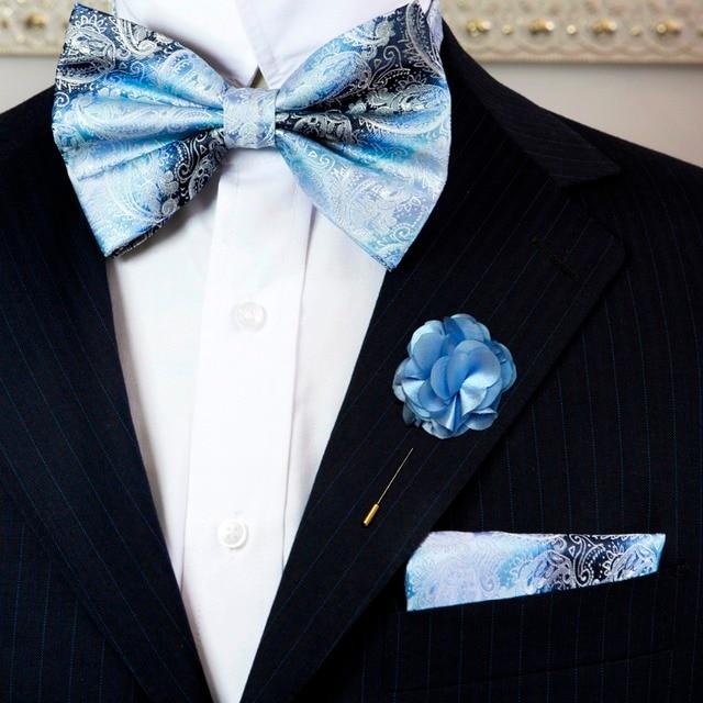 Paisley blue azure white mens adjustable pre tied tuxedo bow tie paisley blue azure white mens adjustable pre tied tuxedo bow tie sets silk hanky lapel mightylinksfo