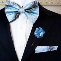 Paisley Blue Azure White Mens Adjustable Pre-tied Tuxedo Bow Tie Sets Silk Hanky Lapel Flower Business Party Wedding Wholesale