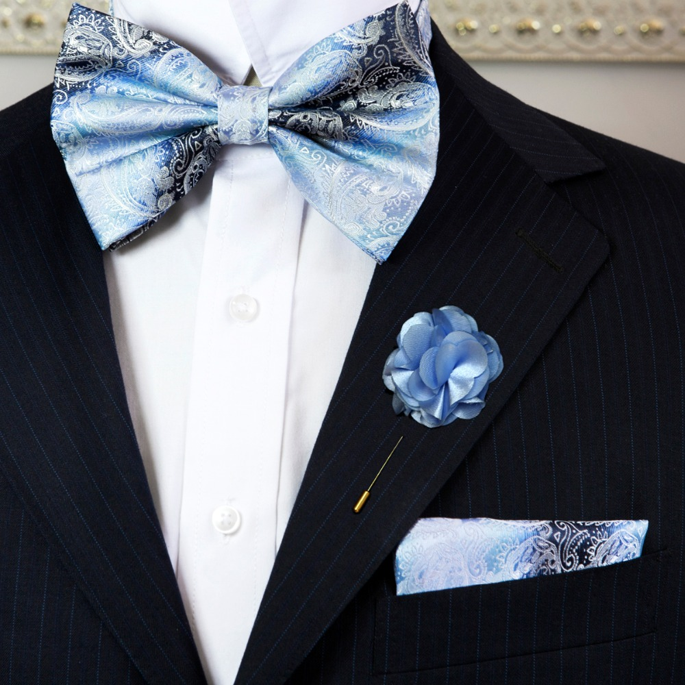 Compare prices on blue white flower tie online shoppingbuy low paisley blue azure white mens adjustable pre tied tuxedo bow tie sets silk hanky lapel dhlflorist Choice Image