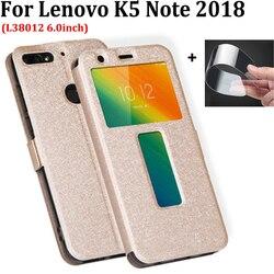 Dla Lenovo K5 uwaga 2018 na telefon etui otwarte okno skórzane etui z klapką do Lenovo K5Note L38012 2018 tylna pokrywa skóry 6.0 cal