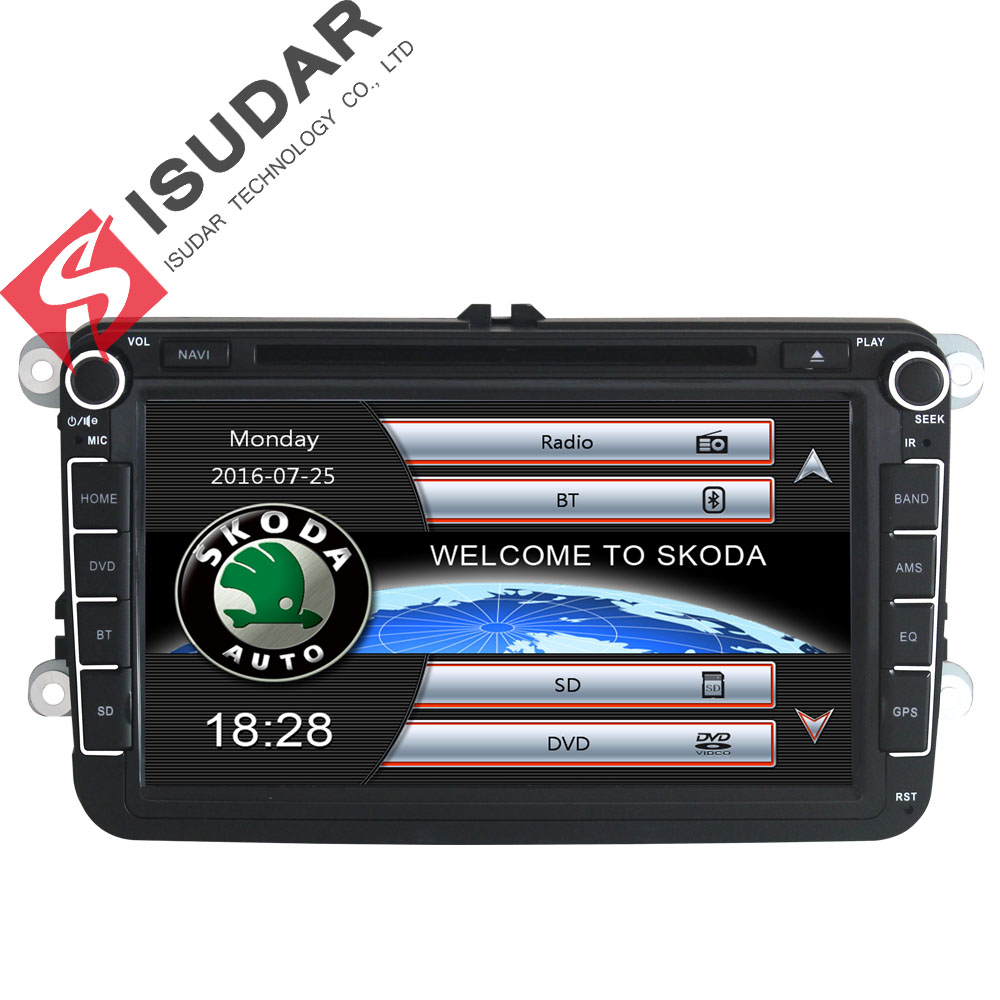 Isudar Car Multimedia player GPS 2 Din For Skoda/VW/Volkswagen/TIGUAN/MAGOTAN/Golf/CADDY/SEAT Wifi FM AM Capacitive Touch Screen isudar car multimedia player automotivo gps autoradio 2 din for skoda octavia fabia rapid yeti superb vw seat car dvd player