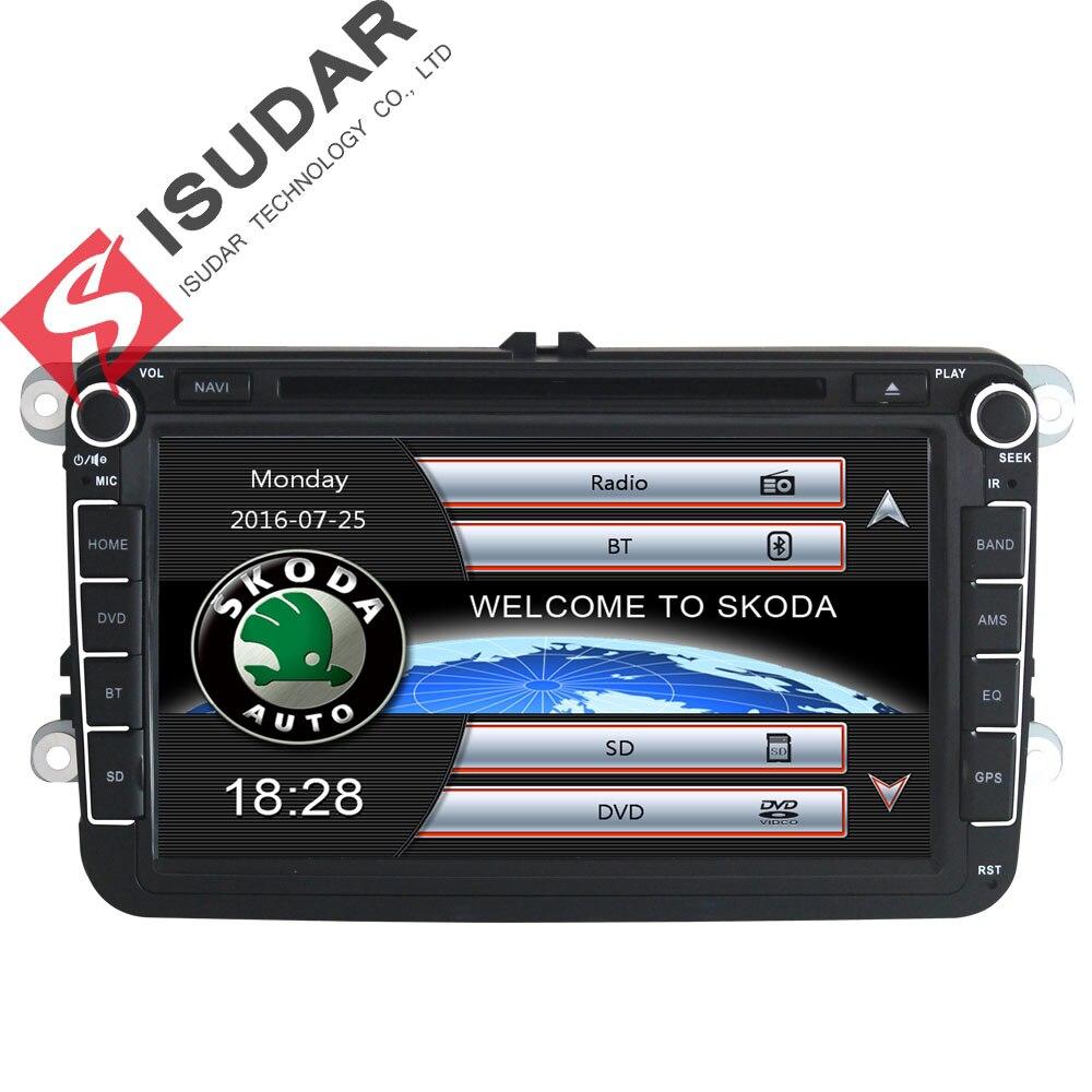 Lecteur multimédia de voiture Isudar GPS 2 Din pour Skoda/VW/Volkswagen/TIGUAN/MAGOTAN/Golf/CADDY/siège Wifi FM AM écran tactile capacitif