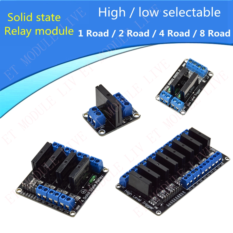 Solid State Relay Module with Fuse For Arduino SSR 1/2/4/8 Channel way Low/hight Level Trigger selectable 4 channel 5a high level trigger solid state relay module board 3 32v power supply and trigger voltage