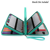 BTSKY 160 Slots Colored Pencil Organizer Deluxe PU Leather Pencil Case Holder Green