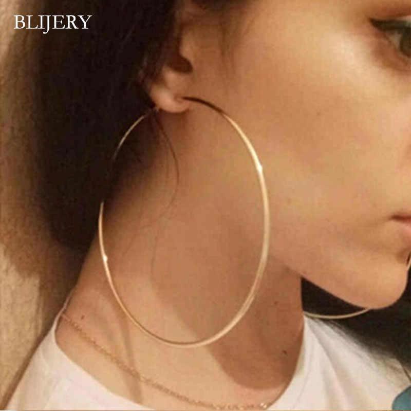 BLIJERY moda geniş halka küpe büyük pürüzsüz daire küpe basketbol Brincos ünlü marka hoop küpe kadınlar takı için