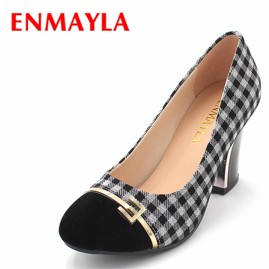 ENMAYLA Autumn Retro High Heels Women's Shoes 8cm Square Heels Plaid Cloth Pumps Princess Ladies Shoes Woman Chunky Heels Pumps