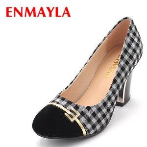 ENMAYLA осенние в ретро-стиле женские туфли на высоком каблуке (8 см), с квадратным каблуком, из клетчатой ткани»; Туфли-лодочки; Обувь для принце...