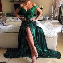 Elegante Grüne Spitze Sexy Front High Slit Backless Nach Maß Abendkleider V-ausschnitt Kurzen Ärmeln Bodenlangen Abendkleider