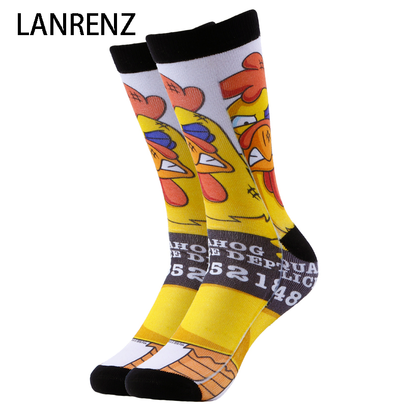 2018 small yellow chicken print Men and women fashion Funny socks 3d printed socks 200 knitting oil painting compression socks
