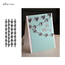 JCarter 4pcs Heart Star Snowflake Circle Flag Metal Cutting Dies for Scrapbooking DIY Album Embossing Folder Paper Card Template