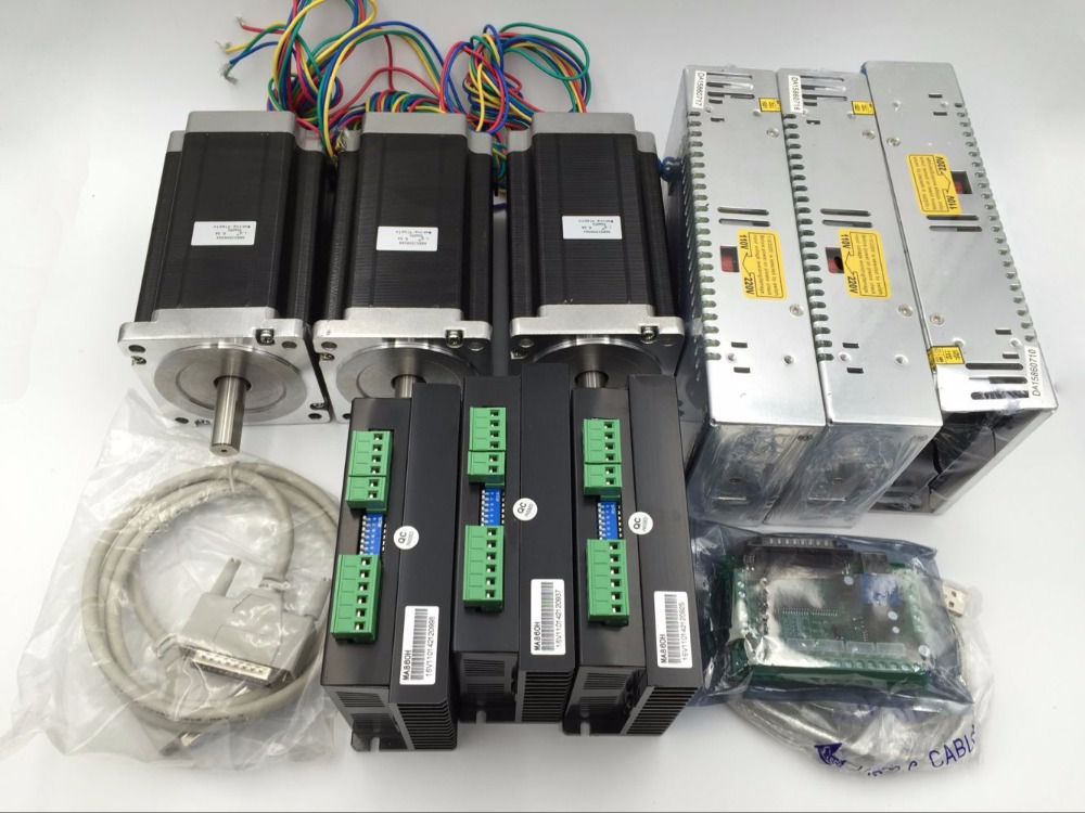 3Axis Stepper Motor Kit 425oz.in Nema34+Motor Driver+Power Supply+5Axis Breakout Board+Cable CNC Router Kit dc36v 350w 9 7a switching power supply 115v 230v to stepper motor diy cnc router