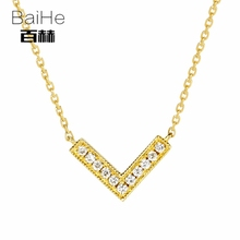 BAIHE Solid 14K Yellow Gold 0.06ct Certified H/SI Genuine Natural Diamonds Women Trendy Fine Jewelry Elegant unique Necklaces