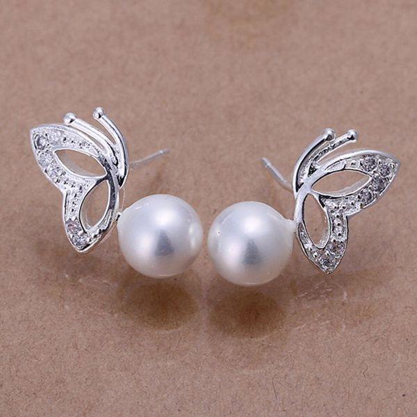 silver plated earrings , silver plated fashion jewelry , Pearl Butterfly White Earrings /cecakvja dvkammra LKNSPCE017-2