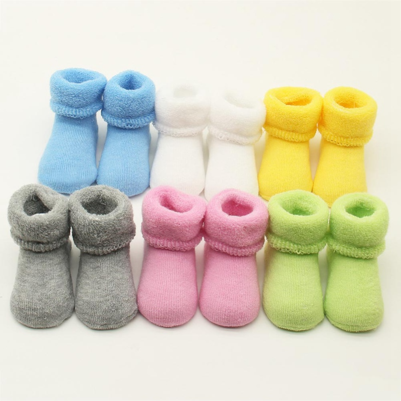 0-12 Months Newborn Baby Cotton Socks Slipper Anti Slip Shoes Sock Winter Warm