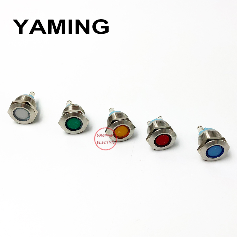 19mm LED Metal Indicator light Waterproof Signal lamp LIGHT Flat Round Power Pilot Light 2 screws connect Colorful P16 in Indicator Lights from Lights Lighting