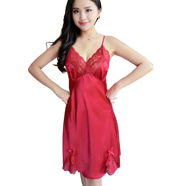 34b078433 مثير ملابس نوم فساتين خمر الدانتيل الأسود الأحمر إغراء النوم strappy الجلباب  حمام العشير