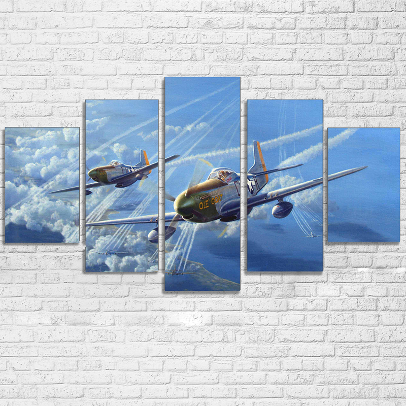 Wall Art Pictures Room Home Decor Abstract Posters Frame 5 Pieces HD Printed Jet Aircraft Vintage