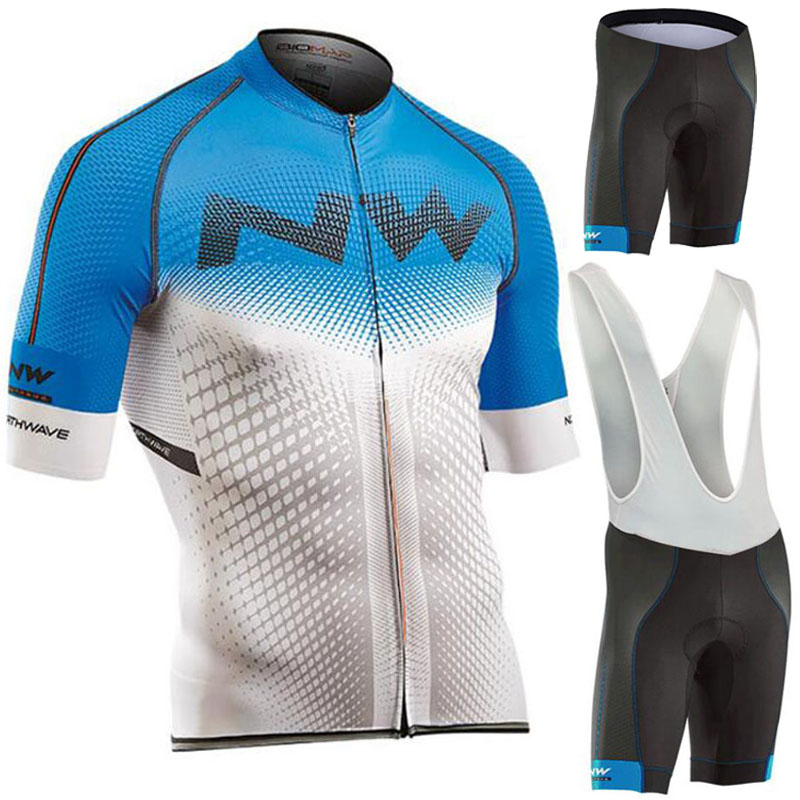 NW Brand 100% Polyester Cycling Jersey Set Summer Quick-Dry MTB Bicycle Cycling Clothing Mountain Bike Clothes Wear For Man