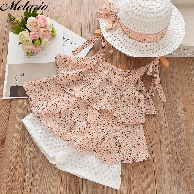 Melario Girls Clothing Sets 2017Brand Summer Style Kids Clothing Sets Sleeveless White T-shirt+Pink Pants2Pc Children Girls Suit bear leader girls clothing sets 2018 new summer o neck sleeveless t shirt pants 2 pcs kids clothing sets children clothing