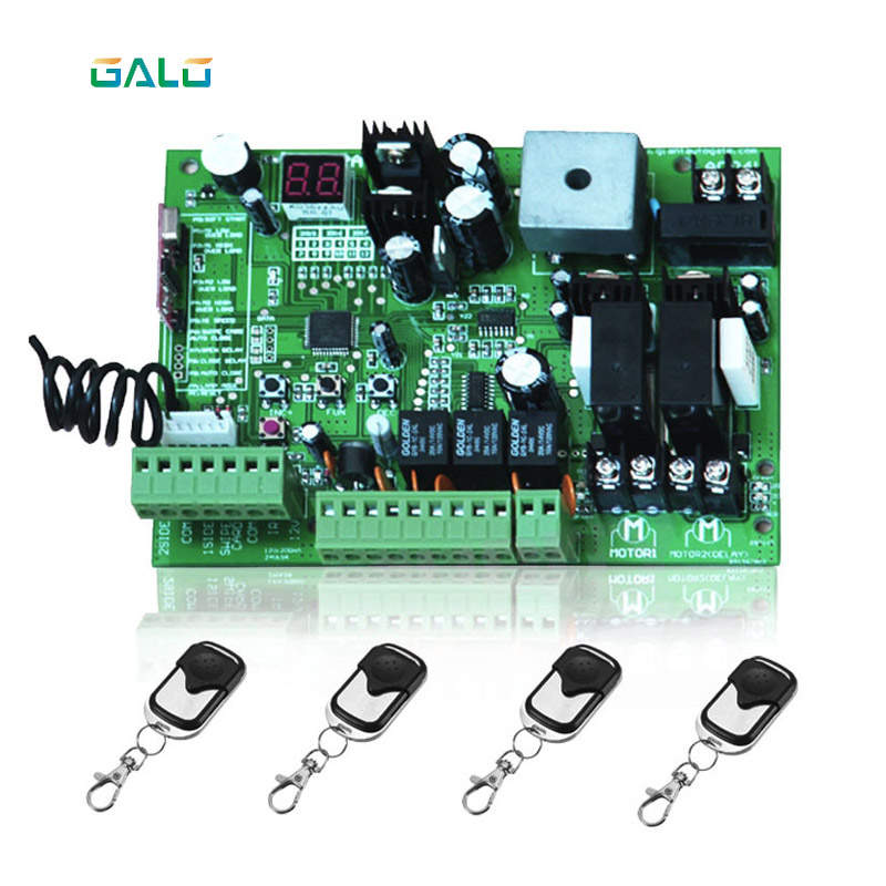 galo 24V DC PCB board ofAutomatic Double arms swing gate opener control panel , motor ( Remote option ) galo 300 kg double arms swing gate opener door motor kit with 1 pair of photocells 1 alarm light